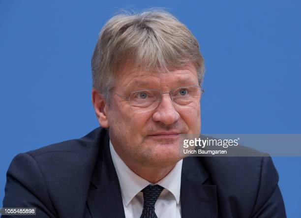 Federal Press Conference on the election in Hesse on October 29 2018 in Berlin Joerg Meuthen speaker of the AfD
