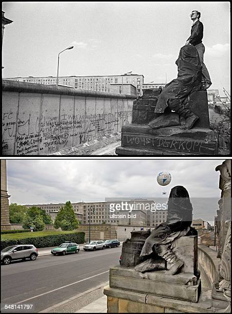 Federal Republic of Germany Berlin Kreuzberg above Berlin wall at Niederkirchner Strasse background House of Ministry of the GDR foreground sculpture...