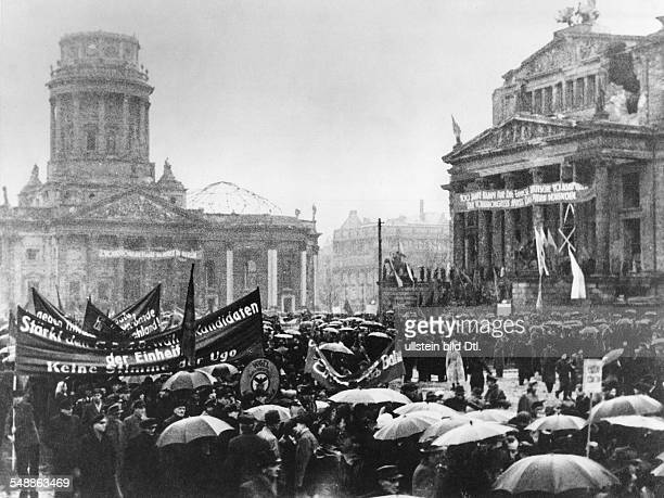 Federal Republic of Germany Berlin Mitte Demonstration at the Gendarmenmarkt during the 2nd Volkskongress organized by the socialist party SED...