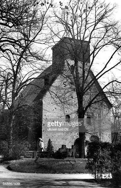 Federal Republic of Germany Berlin Zehlendorf The church St Annen dating from the 13th century the church steeple was partially destroyed in World...