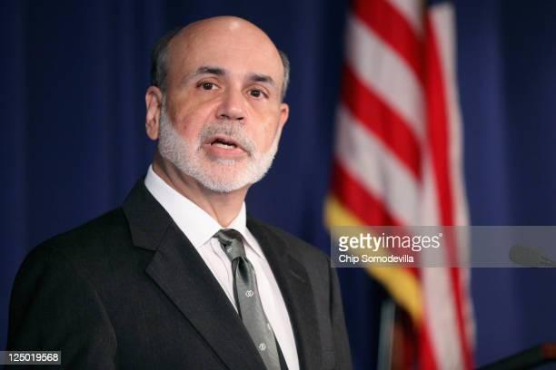 Federal Reserve Bank Board Chairman Ben Bernanke delivers remarks at the Fed September 15 2011 in Washington DC Bernanke made brief openning remarks...
