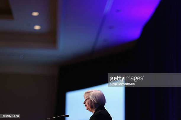 Federal Reserve Bank Board Chairwoman Janet Yellen delivers welcoming remarks during the ninth biennial Federal Reserve System Community Development...
