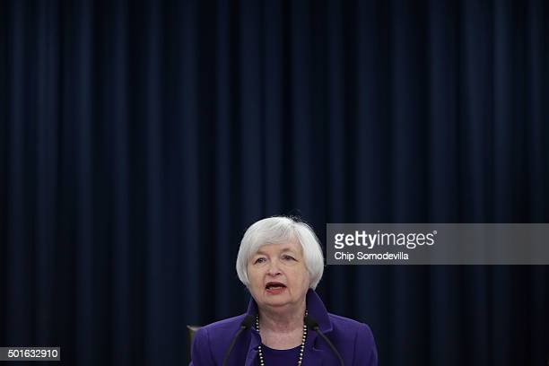Federal Reserve Bank Chair Janet Yellen holds a news conference where she announced that the Fed will raise its benchmark interest rate for the first...