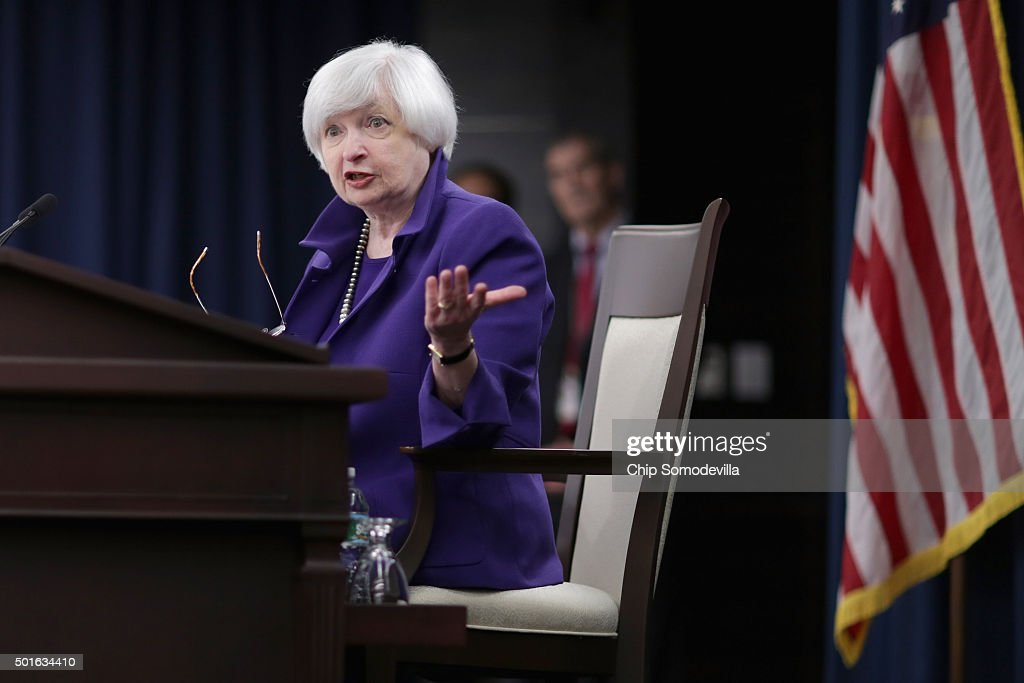 Janet Yellen Holds Press Conf. After Federal Reserve Meeting On Interest Rates : News Photo