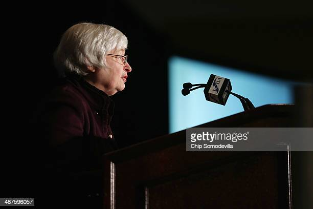 Federal Reserve Bank Chairwoman Janet Yellen delivers remarks during the Independent Bankers of America's Washington Policy Summit at the Omni...