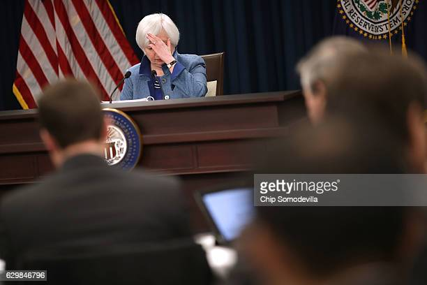 Federal Reserve Board Chair Janet Yellen holds a news conference after the central bank announced an increase in the benchmark interest rate...