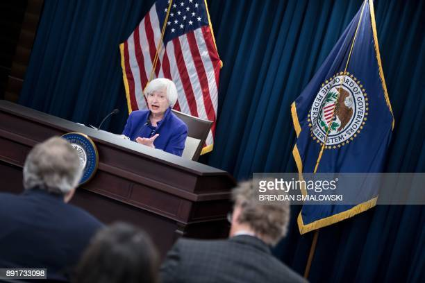 Federal Reserve Board Chair Janet Yellen speaks during a briefing at the US Federal Reserve December 13 2017 in Washington DC The US central bank on...