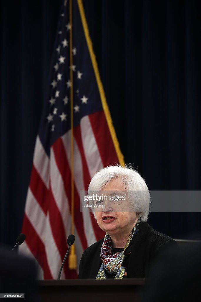 Janet Yellen Holds News Conference After Fed Meeting On Interest Rates : News Photo