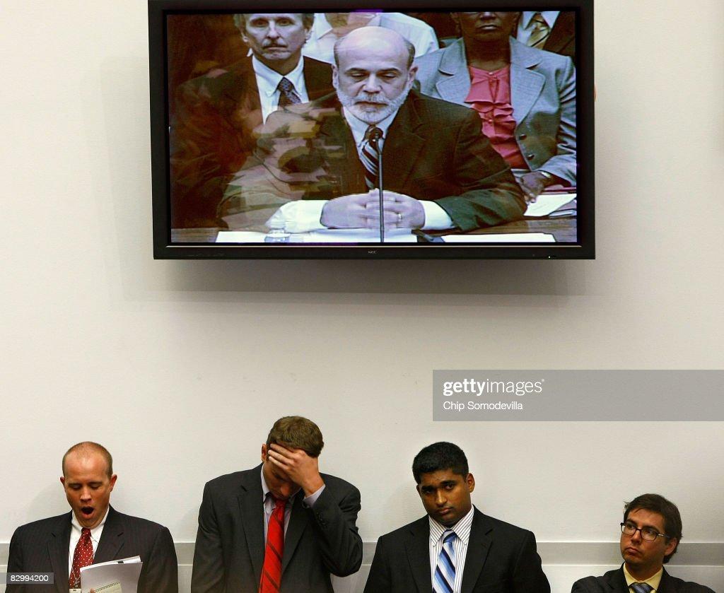 Paulson And Bernanke Testify Before House On Financial Crisis : News Photo