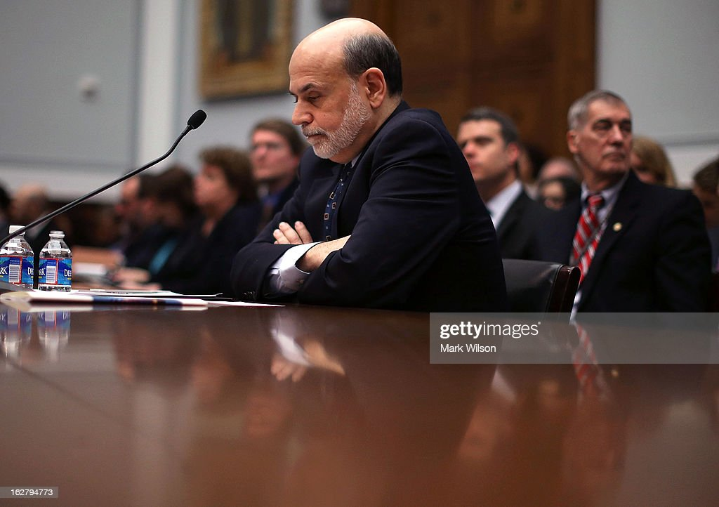 Federal Reserve Board Chairman Ben Bernanke sits at the witness table before the start of a House Financial Services Committee hearing on Capitol Hill, February 27, 2013 in Washington, DC. The committee is hearing testimony from Chairman Bernanke on the state if the U.S. economy and monetary policy.