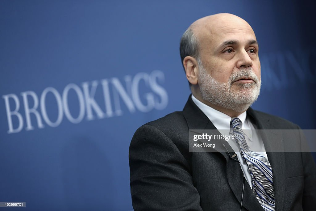 Federal Reserve Board Chairman Ben Bernanke speaks during a session at the Brookings Institution January 16, 2014 in Washington, DC. Bernanke spoke on 'Central Banking after the Great Recession: Lessons Learned and Challenges Ahead.'