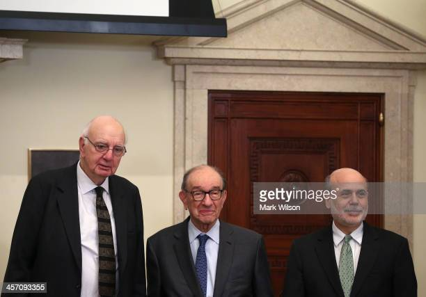 Federal Reserve Board Chairman Ben Bernanke stands with former Federal Reserve Chairman Alan Greenspan and former Federal Reserve Board Chairman Paul...