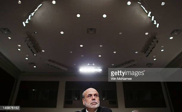 Federal Reserve Board Chairman Ben Bernanke testifies before the Joint Economic Committee on Capitol Hill June 7 2012 in Washington DC Stock prices...