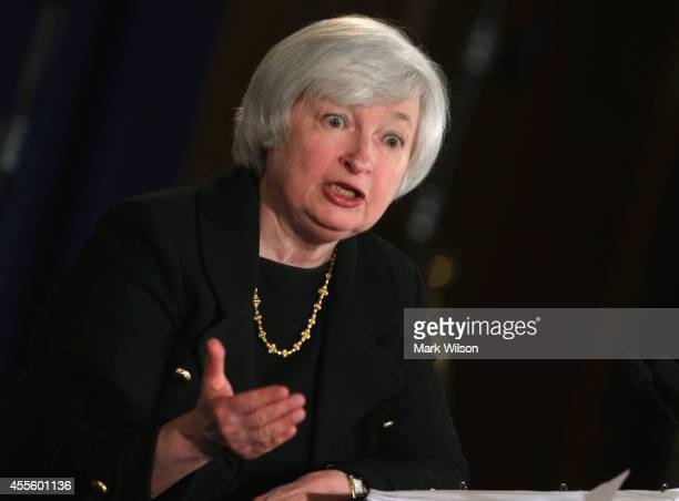 Federal Reserve Board Chairman Janet Yellen speaks to the media during her monthly news conference at the Federal Reserve September 17 2014 in...