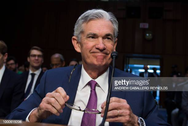 Federal Reserve Board Chairman Jerome Powell arrives at a hearing before the Senate Banking Housing and Urban Affairs Committee July 17 2018 on...