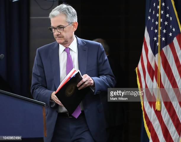 Federal Reserve Board Chairman Jerome Powell arrives for a news conference on September 26 2018 in Washington DC The Fed raised shortterm interest...