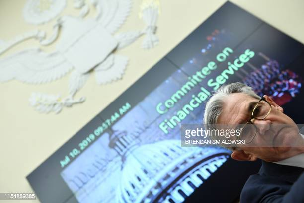 Federal Reserve Board Chairman Jerome Powell arrives to testifiy during a full committee hearing on Monetary Policy and the State of the Economy on...