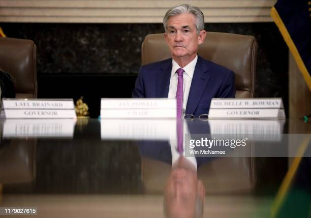 Federal Reserve Board Chairman Jerome Powell attends an event at the Federal Reserve headquarters October 4 2019 in Washington DC Powell participated...