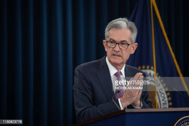 Federal Reserve Board Chairman Jerome Powell speaks at a news conference after a Federal Open Market Committee meeting in Washington DC on June 19...