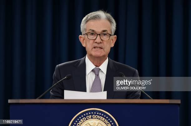 Federal Reserve Board Chairman Jerome Powell speaks at a news conference after a Federal Open Market Committee meeting on September 18, 2019 in...