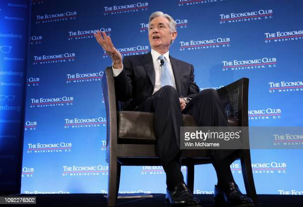 Federal Reserve Board Chairman Jerome Powell speaks at the Economic Club of Washington January 10 2019 in Washington DC Powell answered a range of...
