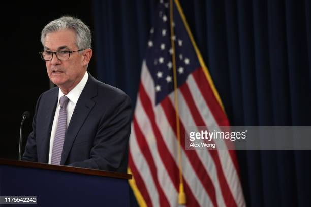 Federal Reserve Board Chairman Jerome Powell speaks during a news conference after a Federal Open Market Committee meeting September 18 2019 in...