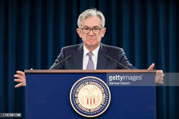 Federal Reserve Board Chairman Jerome Powell speaks during a news conference after a Federal Open Market Committee meeting on January 29, 2020 in...