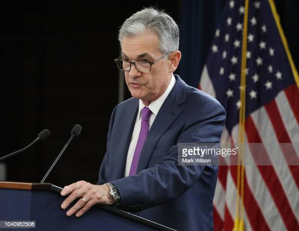 Federal Reserve Board Chairman Jerome Powell speaks during a news conference on September 26 2018 in Washington DC The Fed raised shortterm interest...