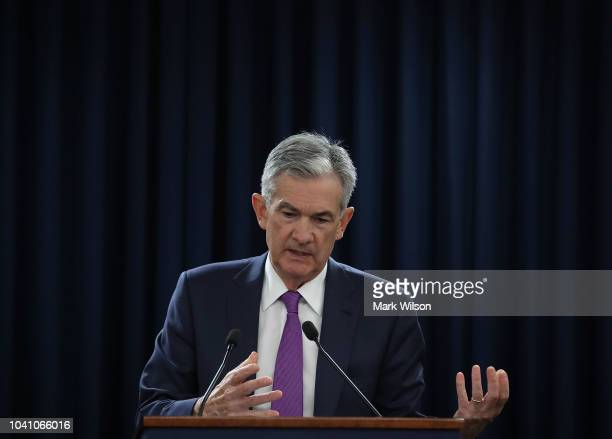Federal Reserve Board Chairman Jerome Powell speaks during a news conference on September 26 2018 in Washington DC The US Federal Reserve raised the...