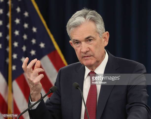 Federal Reserve Board Chairman Jerome Powell speaks during a news conference on December 19 2018 in Washington DC The US Federal Reserve raised the...