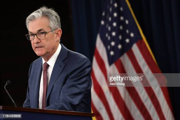 Federal Reserve Board Chairman Jerome Powell speaks during a news conference October 30 2019 in Washington DC The Fed announced that it will cut...