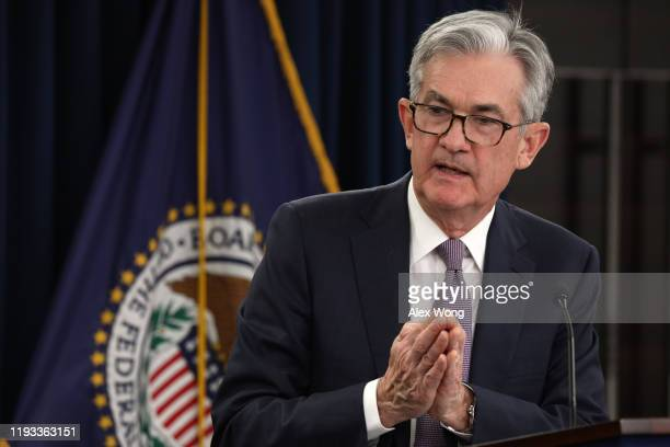 Federal Reserve Board Chairman Jerome Powell speaks during a news conference December 11, 2019 in Washington, DC. The Federal Reserve announced that...