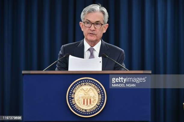 Federal Reserve Board Chairman Jerome Powell speaks during a press conference following the January 28-29 Federal Open Market Committee meeting, in...