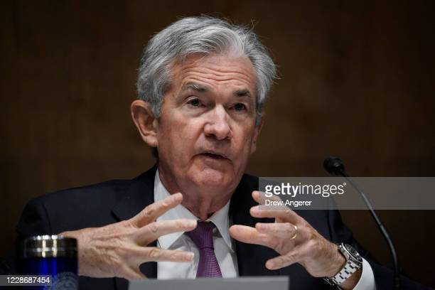 Federal Reserve Board Chairman Jerome Powell testifies during a Senate Banking Committee hearing on Capitol Hill on September 24, 2020 in Washington,...