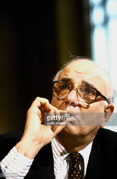 Federal Reserve Board Chairman Paul Volcker testifying before Senator Banking Committee
