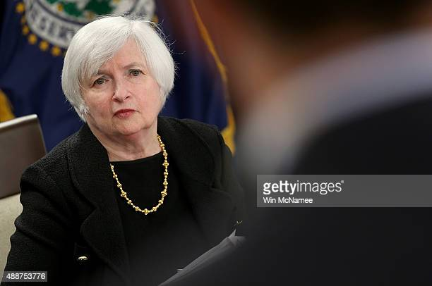 Federal Reserve Board Chairwoman Janet Yellen answers questions at a news conference following a Federal Open Market Committee meeting September 17...