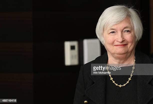 Federal Reserve Board Chairwoman Janet Yellen arrives at a news conference following a Federal Open Market Committee meeting September 17 2015 in...