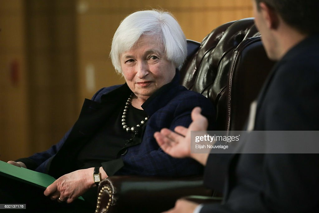 Janet Yellen Discusses U.S. Economic Outlook At Stanford University : News Photo