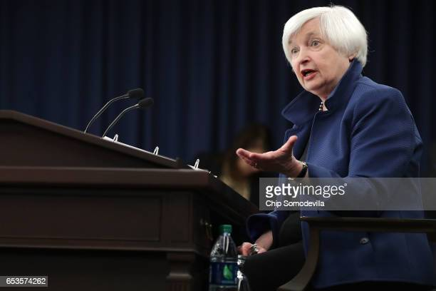 Federal Reserve Board Chairwoman Janet Yellen holds a news conference following a meeting of the Federal Open Market Committee March 15 2017 in...