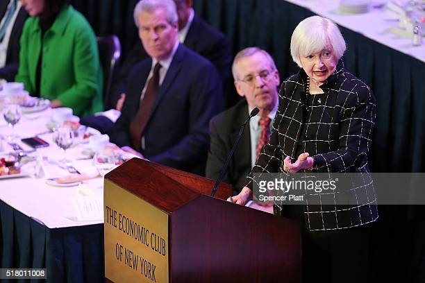 Federal Reserve Board Chairwoman Janet Yellen speaks at the Economic Club of New York on March 29 2016 in New York City Due to an easing of domestic...