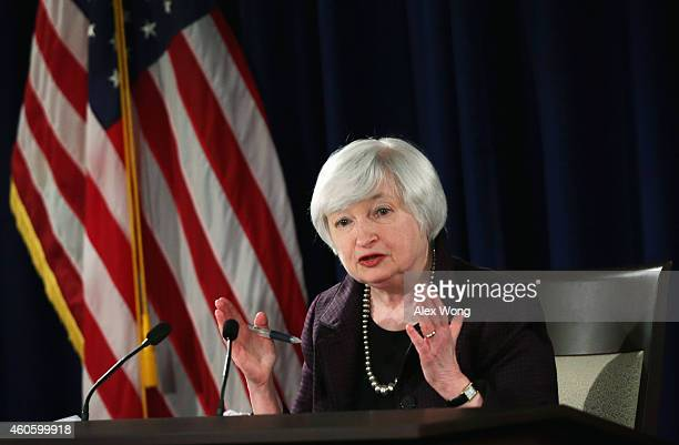Federal Reserve Board Chairwoman Janet Yellen speaks during a news conference December 17 2014 at the headquarters of Federal Reserve Board of...