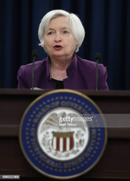 Federal Reserve Board Chairwoman Janet Yellen speaks during a news conference following a meeting of the Federal Open Market Committee June 14 2017...