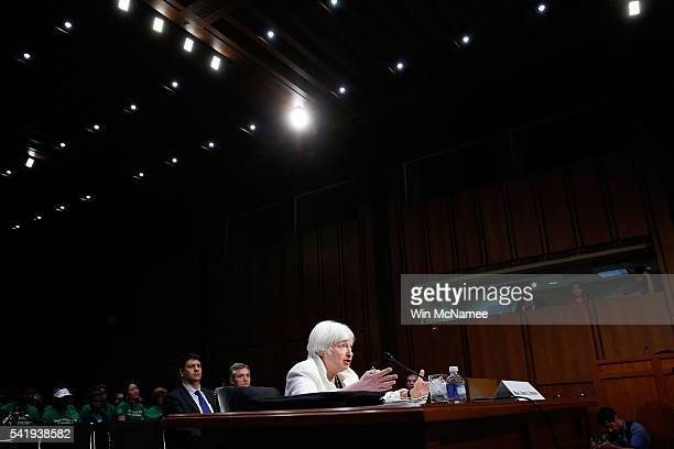 S Federal Reserve Board Chairwoman Janet Yellen testifies before the Senate Banking Housing and Urban Affairs Committee June 21 2016 in Washington DC...