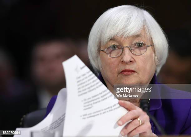 Federal Reserve Board Chairwoman Janet Yellen testifies before the Senate Banking Housing and Urban Affairs Committee February 14 2017 in Washington...