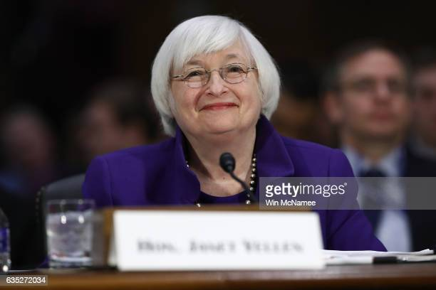 Federal Reserve Board Chairwoman Janet Yellen testifies before the Senate Banking, Housing and Urban Affairs Committee February 14, 2017 in...