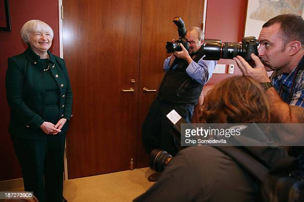Federal Reserve Board of Governors Vice Chair Janet Yellen poses for photographers during a meeting with US Sen Charles Schumer in his office in the...