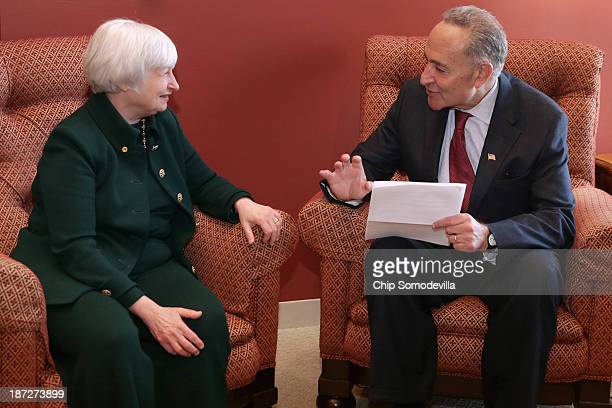 Federal Reserve Board of Governors Vice Chair Janet Yellen talks with US Sen Charles Schumer inhis office in the Hart Senate Office Building November...