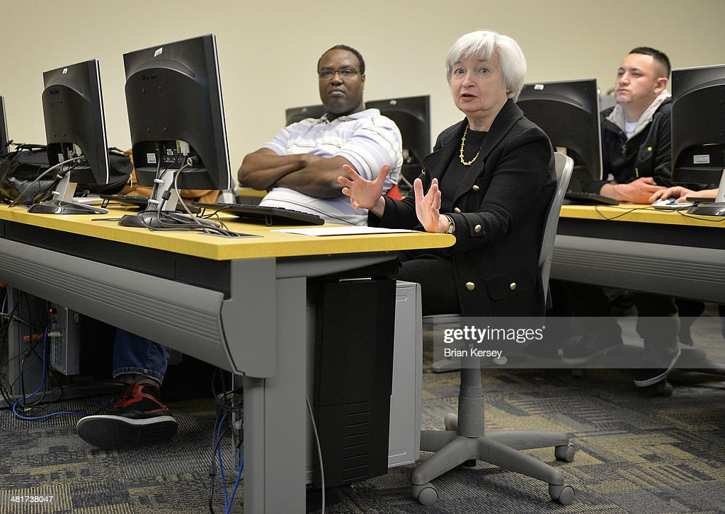 Federal Reserve Chair Janet Yellen asks questions as she tours the College to Careers Program in Advanced Manufacturing at the City Colleges of Chicago's Daley College on March 31, 2014 in Chicago, Illinois. In earlier remarks Yellen indicated that the economy was far from healthy and that the Fed would continue its policy of maintaining low interest rates.