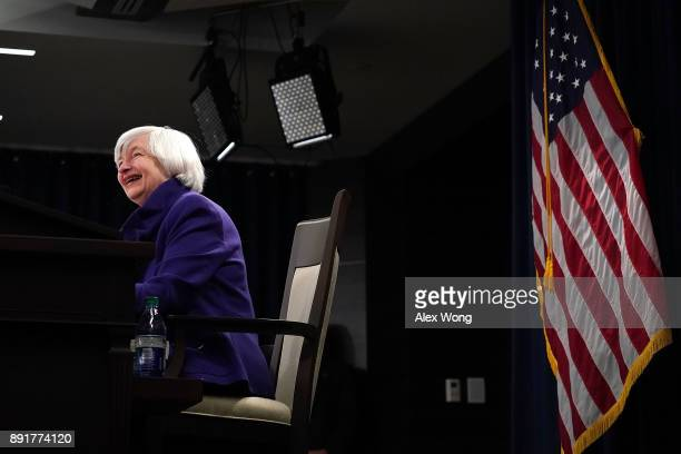 Federal Reserve Chair Janet Yellen laughes during her last news conference in office December 13 2017 in Washington DC Yellen announced that the...