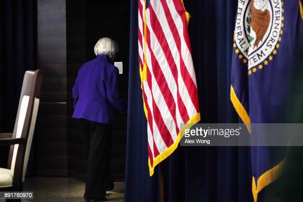 Federal Reserve Chair Janet Yellen leaves after her last news conference in office December 13 2017 in Washington DC Yellen announced that the...